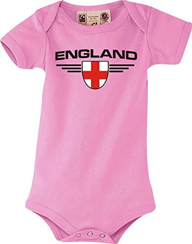 Shirtstown Body Bébé England, Armoiries, Land, Pays - Rose, 6-12 Monate