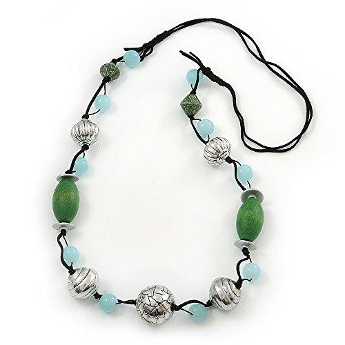 Lunghi con perle in vetro e argento, con perline in acrilico, in pelle scamosciata, colore: Nero, lunghezza: 110 cm