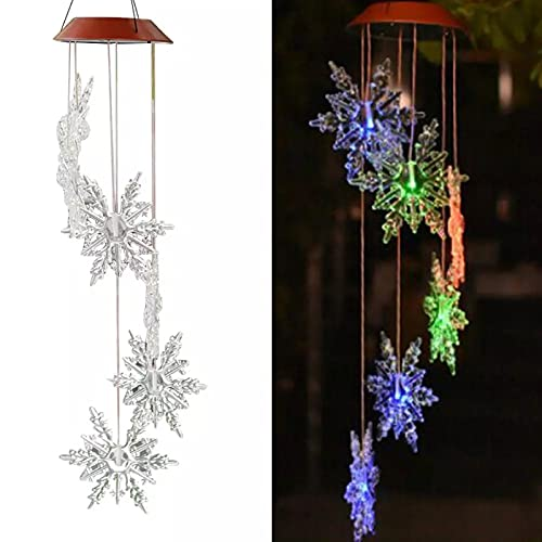 2pcs Solar Wind Chimes Lights, Snowflake Pattern Outdoor Color Changing Wind Chime Mobile Hanging String Light Waterproof LED Decorative Romantic Light for Gift Patio Yard Garden Decor