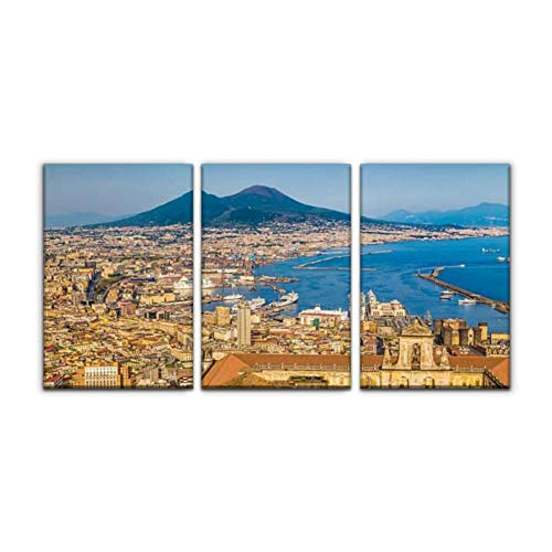 "Modern Canvas Painting city of naples with mt vesuvius at sunset, campania, italy pompeiis Wall Art Artwork Decor Printed Oil Painting Landscape Home Office Bedroom Framed Decor (16""x24""x3pcs)"
