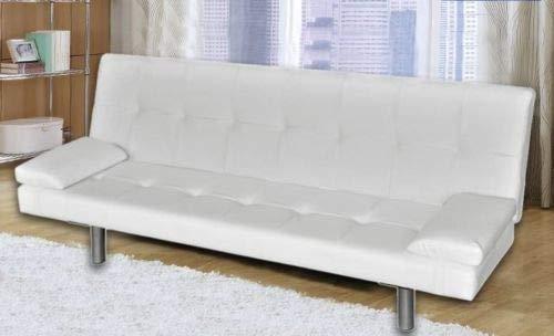 Gstore Divano Letto 3 POSTI RECLINABILE Ecopelle Nero E Bianco con Cuscini Nuovo Modell (Bianco) 1080