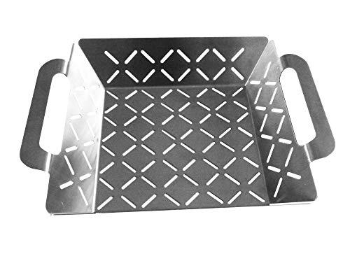 Steuber Premium Line Edelstahl Grillkorb klein 27,5 x 22 x 5,5 cm, Grill-Schale, Ersatz für Aluminium Schalen