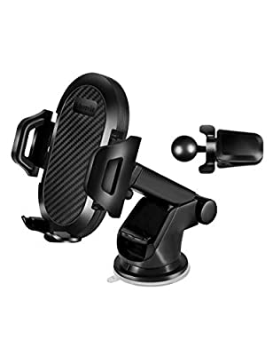 Universal car Phone Holder,3 in 1 Dashboard Windshield air Vents Cell Phone Mount,Hands Free Charge,Long Arm Strong Suction Compatible with iPhone 11 pro Plus xr se Samsung s10 20 8 7 Note GPS by Johomviin