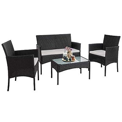 Walsunny 4 Pieces Outdoor Patio Furniture Sets Rattan Chair Wicker Set,Outdoor Indoor Use Backyard Porch Garden Poolside Balcony Furniture?Black?