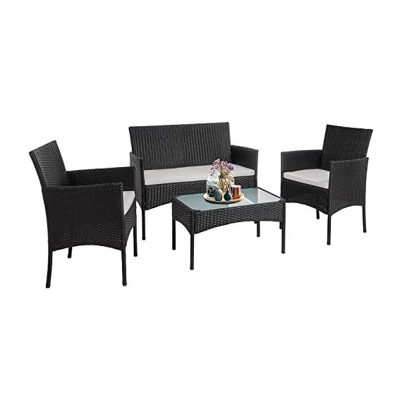 Walsunny 4 Pieces Outdoor Patio Furniture Sets Rattan Chair Wicker Set,Outdoor Indoor Use Backyard Porch Garden Poolside Balcony Furniture(Black) 1 CHARMING CONVERSATION SET – Great for small spaces or creating a cozy nook, this outdoor wicker furniture set comes with two chairs, a love-seat, and a tempered glass top table. GORGEOUS GLASS TABLE TOP – Each perfectly-sized drink table features a tempered glass top that's equally gorgeous and durable for long-lasting outdoor use. WEATHER-RESISTANT RESIN – Designed specifically for indoor or outdoor use, this wicker conversation set is strong enough to withstand the rain, sun, and wind.