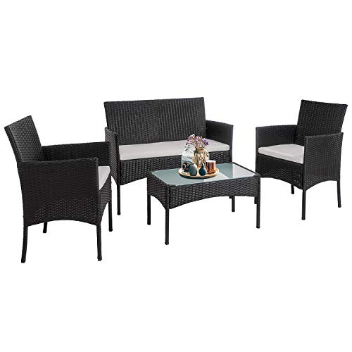 Walsunny 4 Pieces Outdoor Patio Furniture Sets Rattan Chair Wicker Set,Outdoor Indoor Use Backyard Porch Garden Poolside Balcony Furniture(Black)