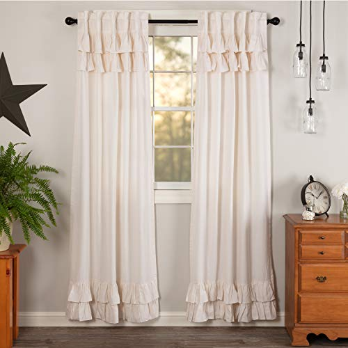 VHC Brands Simple Life Flax Valance, Panel Pair 84x40, Antique White