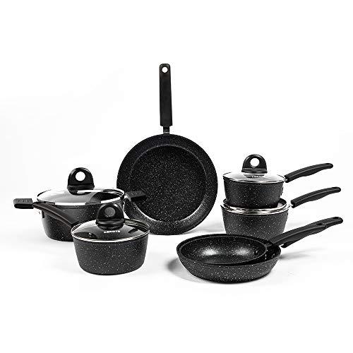Carote Nonstick Cookware Set,11 Pcs Nonstick Cookware Set Pan and Pot-Bäsik, Black