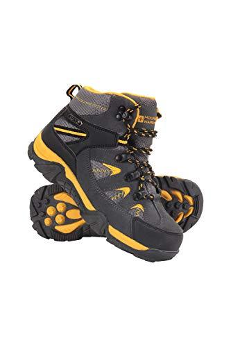 Mountain Warehouse Trail Kids Botas Impermeables - Zapatos Infantiles con Malla sintética en la Parte Superior, Plantilla EVA, Alta tracción - para Senderismo y Caminar Amarillo Mostaza 32
