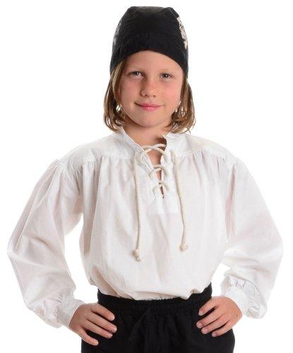 HEMAD Piratenhemd weiß Kinder-Schnürhemd Baumwoll-Hemd S