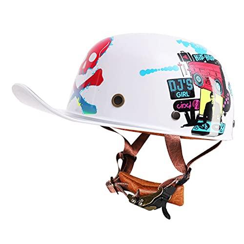 YAYT Medio Casco de Motocicleta de Moda Personalizada, Multicolor Opcional/patrón/Hip-Hop, Motocicleta eléctrica Vintage, Medio Casco, Gorra de Motocicleta aprobada por Dot/ECE (55-63CM)