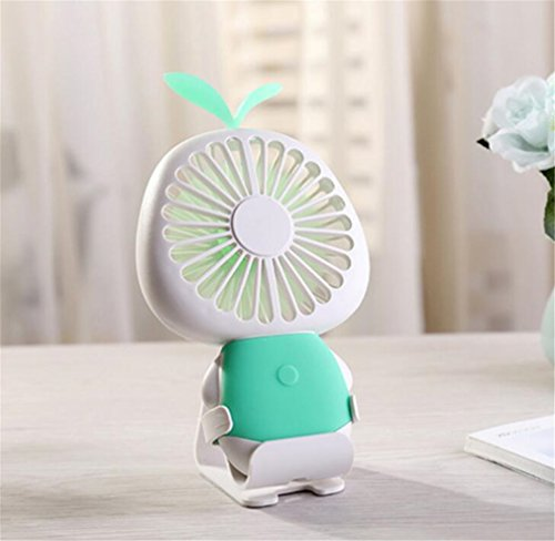 Elegce-Z Mini-ventilator Star Grass USB oplaadbaar kleurrijke LED nachtlampje kinderen Mini Fan Home slaap Outdoor Perfect Companion, groen