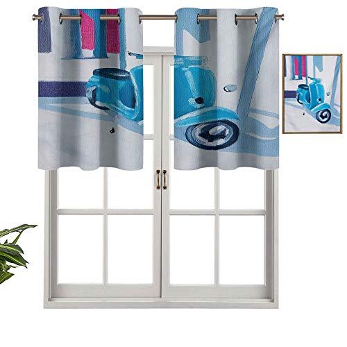 Hiiiman Sunshine Blockout cortina mini scooter en suave Mediterráneo, medio día, impresión artística, símbolo de la vida de la ciudad italiana, juego de 1, 137 x 45 cm para interior salón comedor