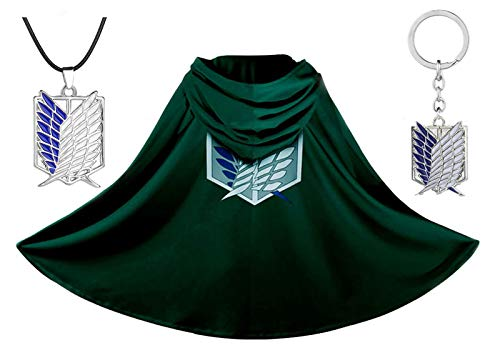 Anime Attack on Titan Cloak Shingeki No Kyojin Cloak Scouting Legion The Wings of Freedom Cape Halloween Manga Cosplay Costume, Attach a Special Necklace and a Badge Key Chain (M, Green)