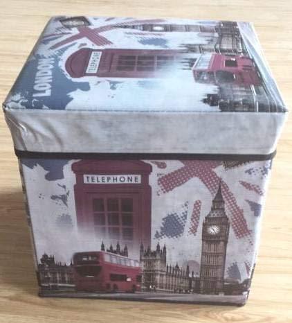 Dorte Hogar Puff Plegable Caja Tapa London 30 x 30