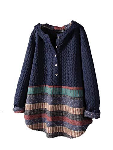 Wsgyj52hua 2020 Herbst Und Winter Neue Kapuze Pullover Ethnischen Stil Gedruckt LangäRmelige Mittellange Weibliche Jacke