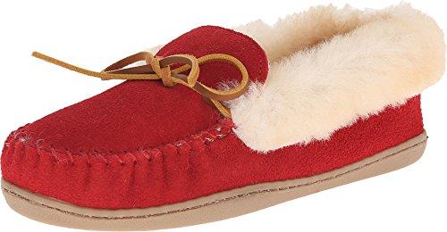 Minnetonka Women's Alpine Sheepskin Slippers, Red 8 M