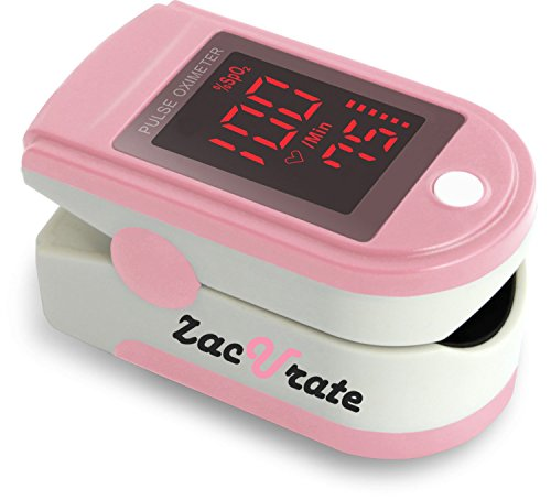 Acc U Rate® Pro Series CMS 500DL Fingertip Pulse Oximeter Blood Oxygen Saturation Monitor with Silicon Cover, Batteries and Lanyard (Blushing Pink)