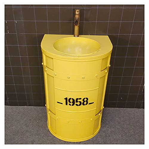 Hierro Forjado Lavabo De Pie 55×45×85cm, Fregadero De Pedestal Redondo Estilo Industrial, Lavamanos De Baño Móvil Creativo con Grifo Retro Y Tubo De Desagüe(Color:Amarillo sin Espejo)