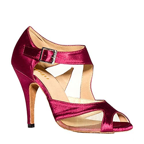 ZIYEYE Zapatos De Baile Latino De La Sala De Baile De Las Mujeres Salsa Bachata Tango Moderno Baile Social Zapatos De Baile De Boda De Gamuajes Zapatos De Baile(Size:35 EU,Color:Rojo)