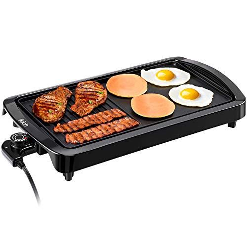 Homasy Elektrische Plancha Grillplatte 1600W 2in1 Elektrische Grillpfanne Indoor Smokeless Antihaft-Elektro-Pfannkuchen Grill mit Antihaftbeschichtung(55.5x34cm)