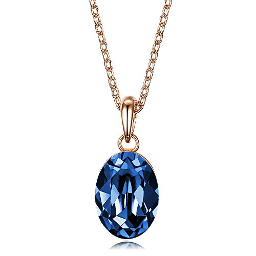 AILUOR 925 Sterling Silver Blue Sapphire Ruby Amethyst Crystal Pendant Necklace Oval Gemstone Birthstone with 18 Inch Silver Chain Jewelry (Blue)