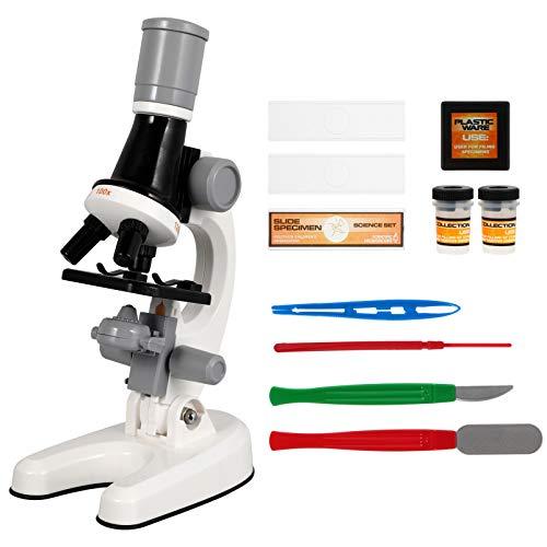 CLISPEED 1 Conjunto de Microscópio Infantil para Crianças Com Luz Led Superior E Inferior Do Kit de Experimentos para Observar Todos Os Tipos de Amostras Brancas