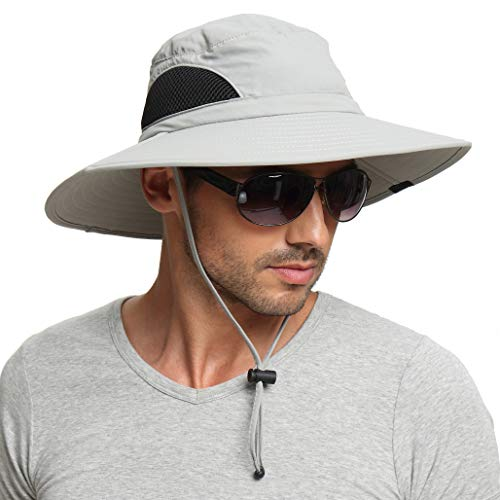 Sun Hat for Men/Women, Sun Protection Wide Brim Bucket Hat Waterproof Breathable Packable Boonie Hat for Fishing Light Gray