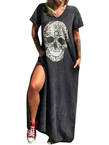 Minetom Robe Longue Femme Grande Taille Manche Courte Imprimé Crâne Ample Ete Bohême Boho Plage Vacances Maxi Dress E Noir XS