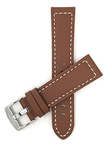 Leder Uhrenarmband 22mm für Herren, Hellbrun, Stil racer, mit weißer Naht, Schließe Edelstahl, auch verfügbar in schwarz, braun, rot, gelb