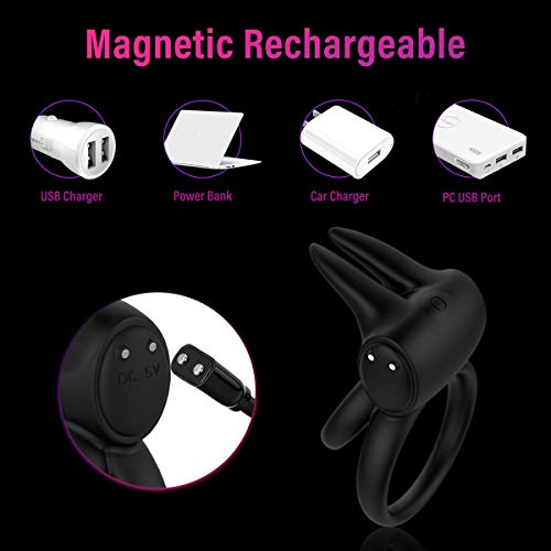 Cock Ring Vibrator with Rabbit Ears Double Ring 7 Vibration Modes for Men, PALOQUETH Rechargeable Vibrating Penis Ring Couples Vibrator for Partner Pleasure, Waterproof Wireless Remote Control