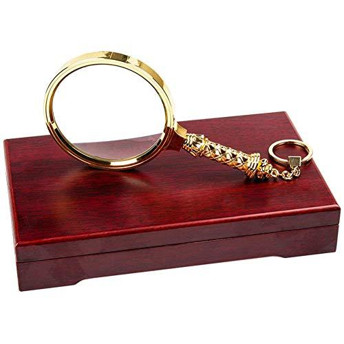 6X Golden Elderly Handheld Metal Magnifier, 90Mm optische lenzen houten doos, een geschenk voor mama en papa Lupe
