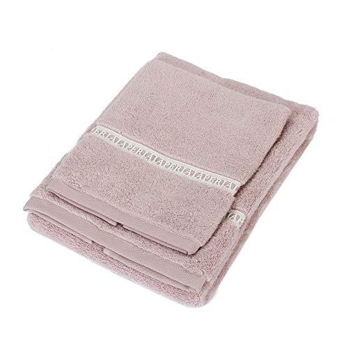 La Perla - Par de esponjas 1+1, 100% Rizo de algodón macramé, Color 2 Rosa.