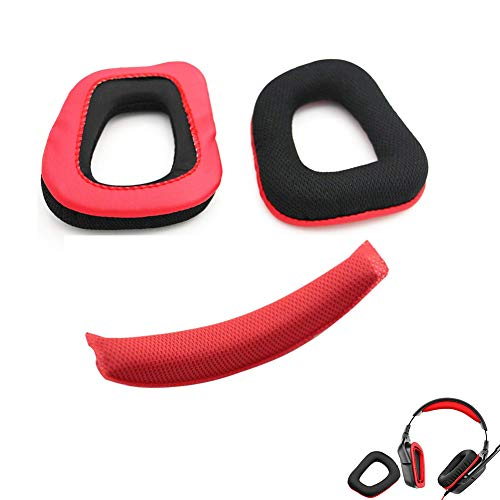 Ersatz Ohrpolster Ohrpolster Kissen für Logitech G230Kopfhörer + Ersatz Kopfband/Kissen Pad Reparatur Teile (rot-schwarz)