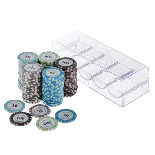 Perfeclan 100x Professional Casino Poker Chips Set with Case , 11.5 - C, 4cm