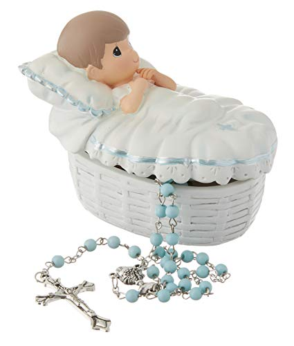 Product Image 1: Precious Moments, Baptized In His Name Resin Box With Rosary, For Boy, 153407,Boy Rosary