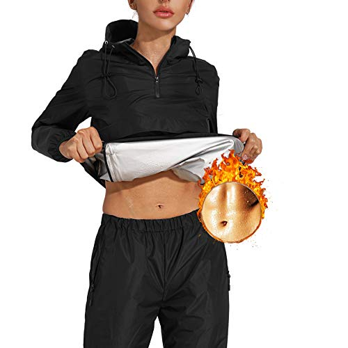 Junlan Sauna Suit for Womens Sweat Sauna Jacket Gym Workout Sweat Pants for Womens (Black Tops and Pants,X-Large)