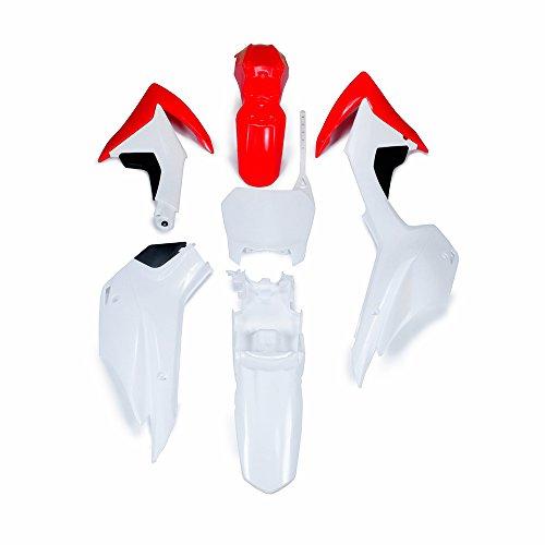 Un Kit de Guardabarros de plástico ABS Xin para Motocicleta, para Honda CRF110 2013-2015 Dirt Pit Bike (Rojo y Blanco)