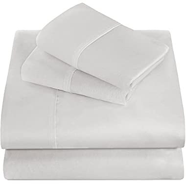 Bare Home Premium 1800 Ultra-Soft Microfiber Collection Sheet Set - Double Brushed - Hypoallergenic - Wrinkle Resistant - Deep Pocket (Queen, White)