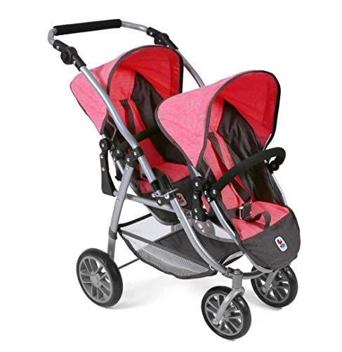 Bayer Chic 2000 689 41 Tandem-Buggy Vario, Zwillings-Puppenwagen, Melange anthrazit-pink