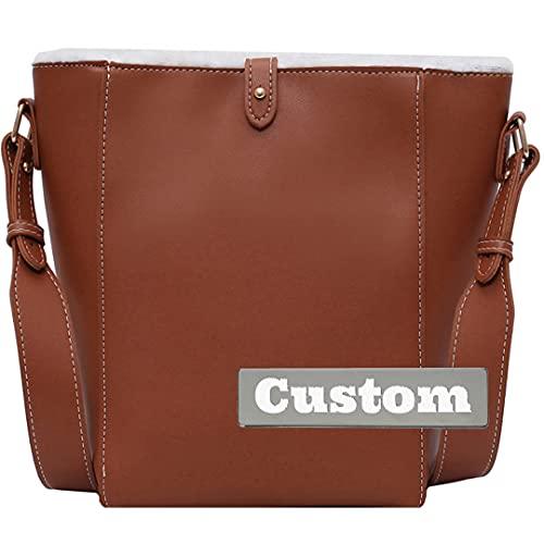 Nombre Personalizado con Cremallera de Cuero Bolso de Hombro de Cuero Bolso de Hombro Cuero Cruzado (Color : Brown, Size : One Size)