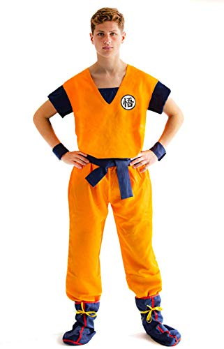 CosInStyle Son Goku Anime Cosplay Training Kostüm für Herren Gr. Large, Orange