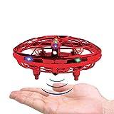 BRAND SET Verbesserte Version der Spielzeuge UFO Mini Drohne Fliegendes Spielzeug mit LED-Leuchten Infrarot-Induktion Handgesteuert Einfach zu Bedienen Wiederaufladbar Flugspielzeug-Rot -