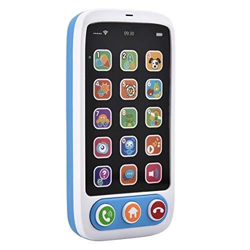 HEEPDD Regalo Educativo Interactivo para niños, Divertido Aprendizaje en inglés Teléfono móvil Bebé Teléfono Celular Juguete Spray Dolphin Toy Reproducir música Teléfono Celular para Play House(Blue)