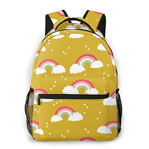 Lightweight College Book Bags,Laptop Bags,Boys Girls Casual Backpack,Adult Travel Rucksack,Men Women Daypack,Rainbows Mustard Yellow