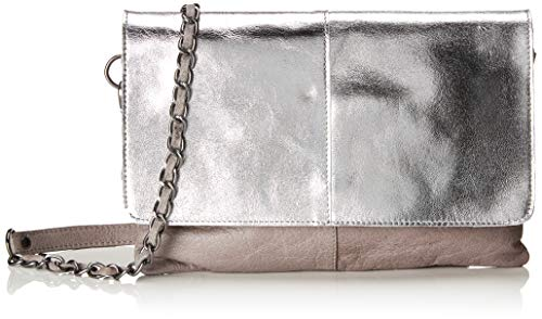Pieces Pckarell Leather Cross Body, Sacs bandoulière femme, Gris (Gray Violet), 1x16x25 cm (B x H T)