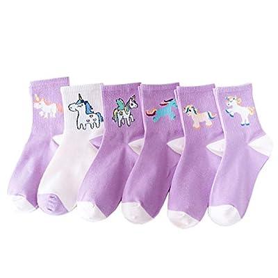 TENDYCOCO 6 Pares de Calcetines de Unicornio Accesorios de Vestir Cómodos Medias Calcetines Casuales Calcetines de Tubo