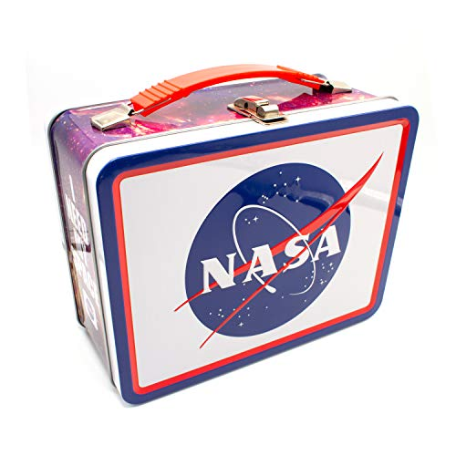 AQUARIUS NASA Logo Large Fun Box - Sturdy Tin Storage Box with Plastic Handle & Embossed Front Cover - Officially Licensed NASA Merchandise and Collectible Gift for Kids, Teens & Adults
