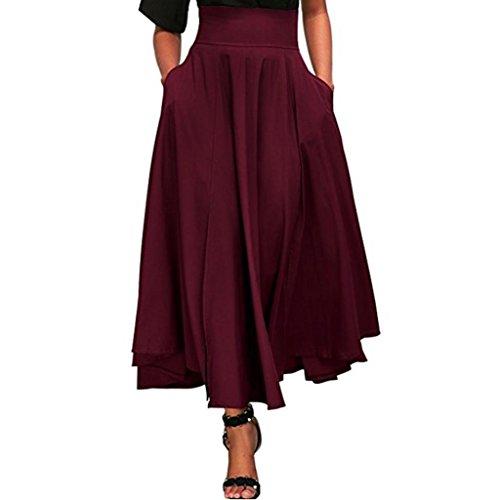 Kleider Damen Sommer Elegant Knielang Hohe Taille plissiert eine Linie Langen Rock vorne Schlitz Gürtel Maxi Rock Festlich Hochzeit Abendkleider...