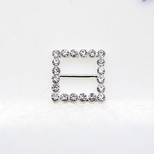 Lot de 20 20 mm x 20 mm forme carrée strass Boucle coulissant pour mariage Invitation Lettre